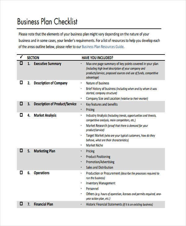checklist of business plan