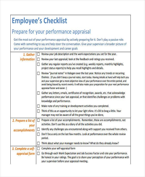 checklist of employee performance
