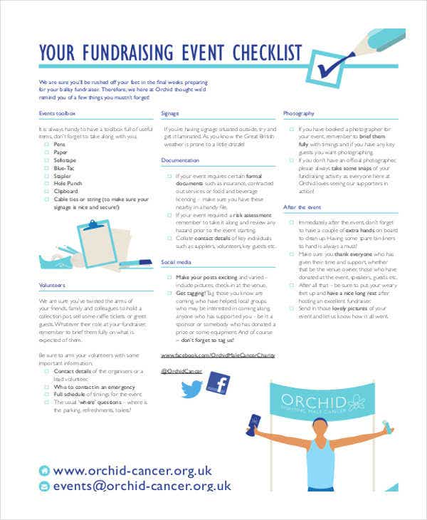 checklist of fundraising event