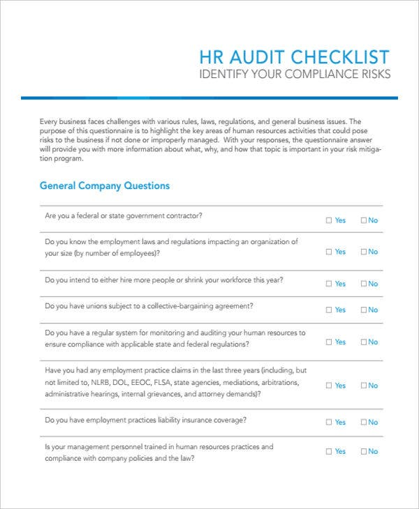checklist of hr audit