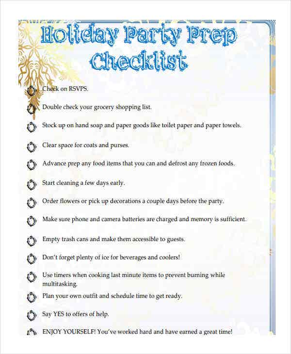 checklist of holiday party