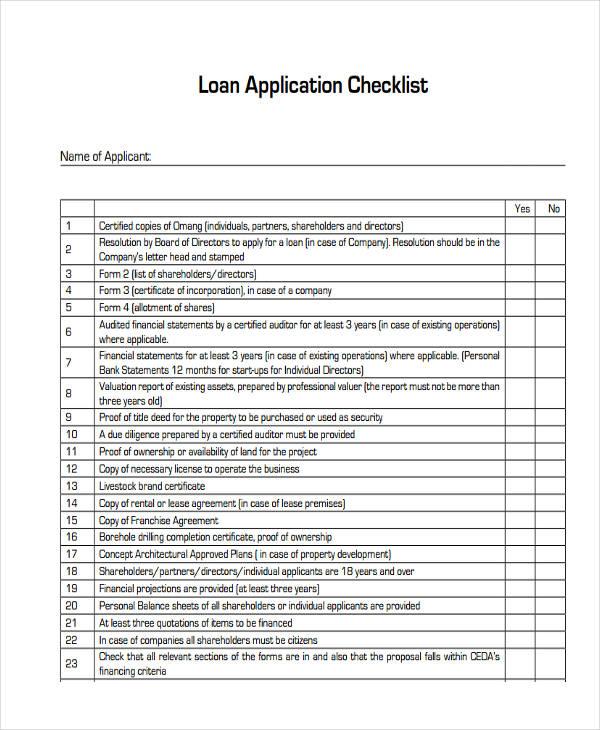checklist of loan application1