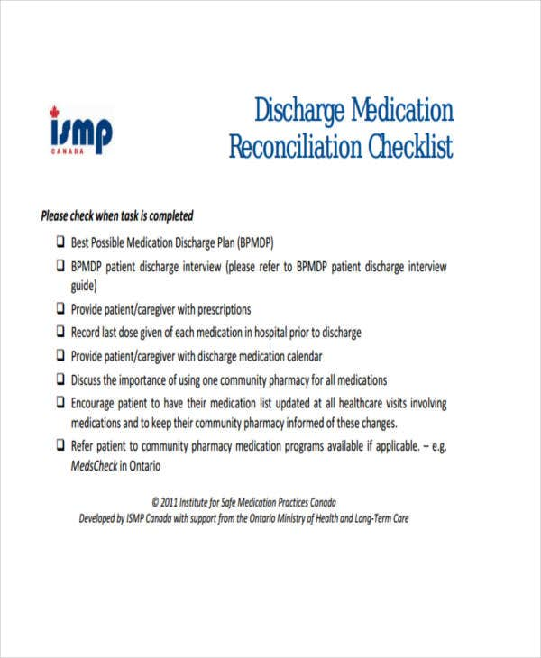 9 medication checklist templates free samples examples format download free premium templates. Black Bedroom Furniture Sets. Home Design Ideas