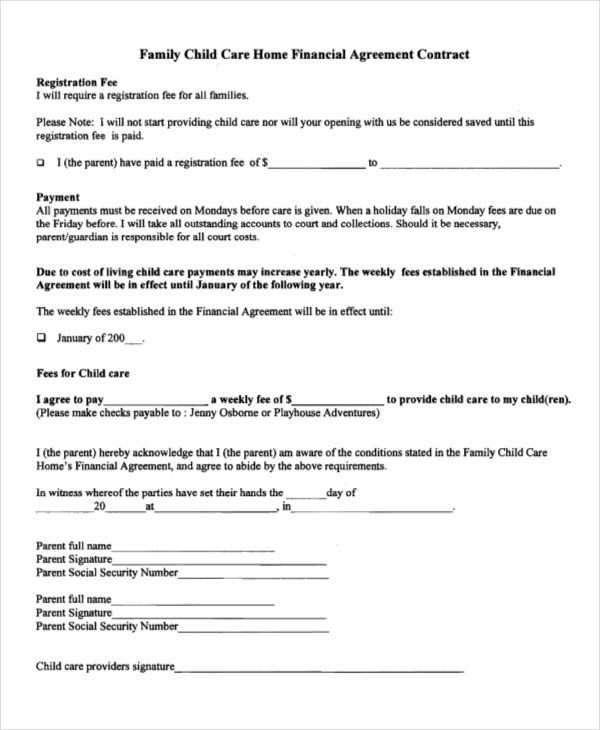 child care financial agreement