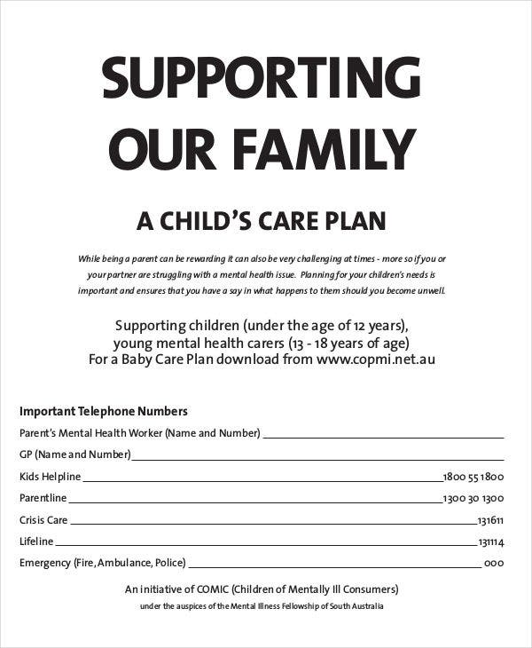 child care plan