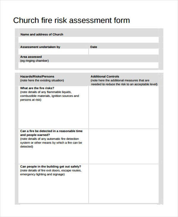 church fire risk assessment