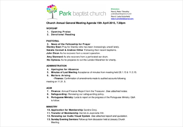 church meeting agenda
