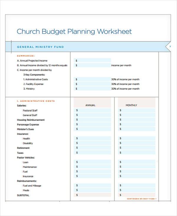 church planning budget