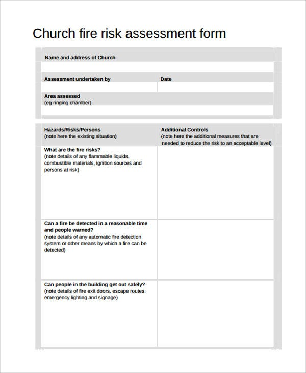 24 Risk Assessment Form Templates Free Premium Templates