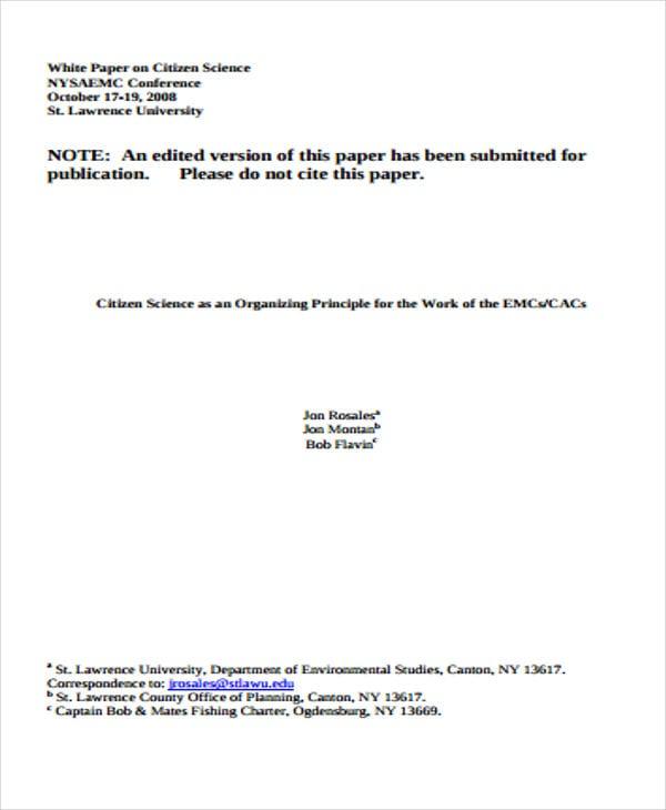 citizen science white paper