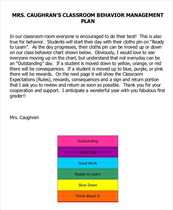 Classroom Management Plan Templates Free Sample Example