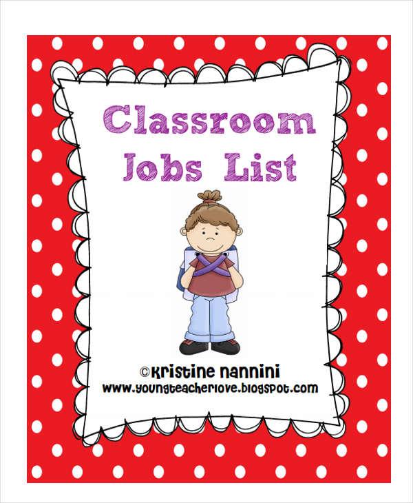 classroom job list template