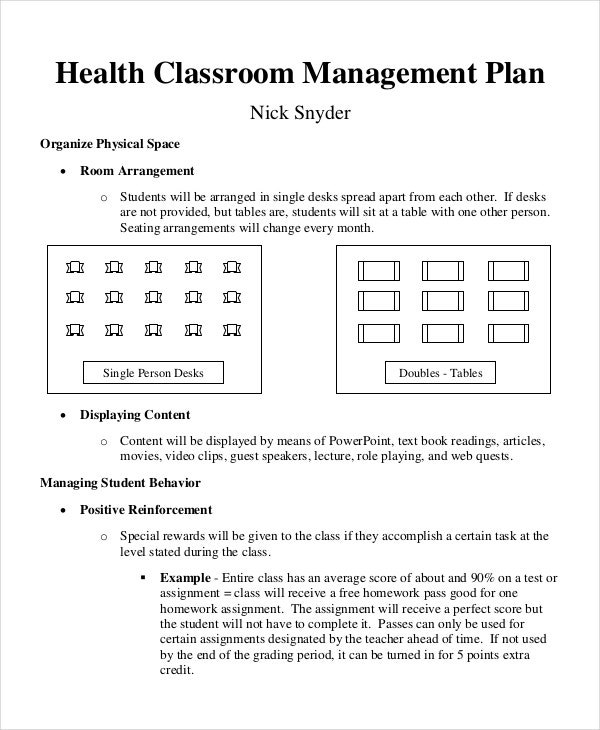 classroom management plan for health