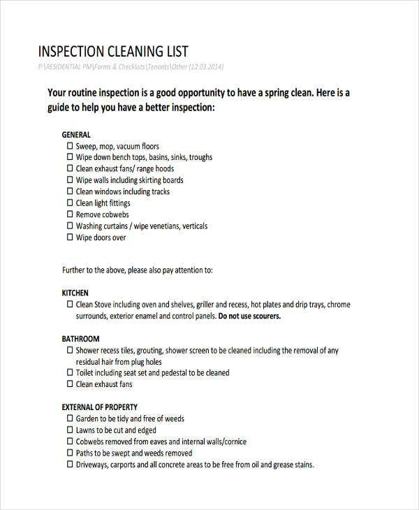 cleaning inspection checklist