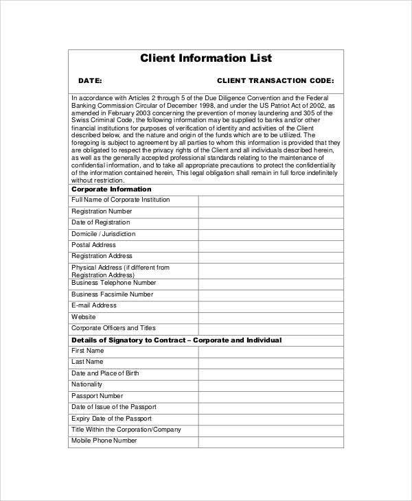 client information list1