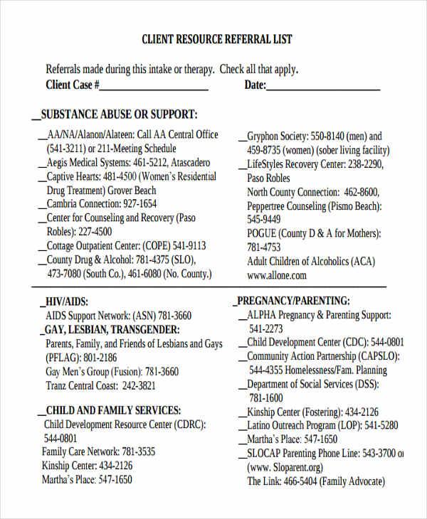 7  printable client list templates