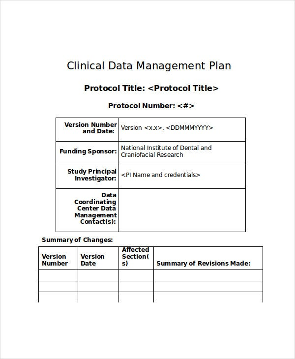 Data Management Plan Template | 7 Data Management Plan Templates Free Sample Example Format
