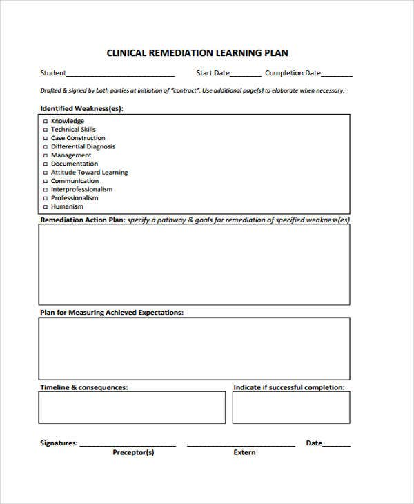 clinical remediation plan