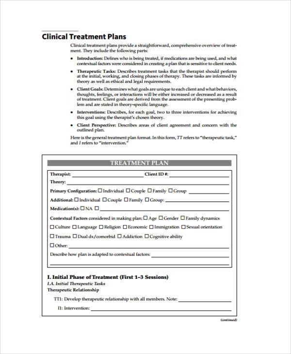 30  free treatment plan templates