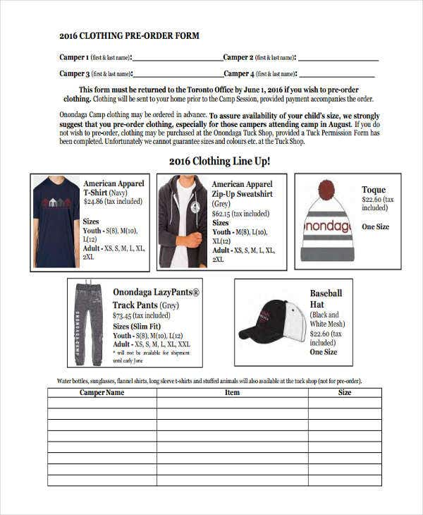 9  clothing order forms