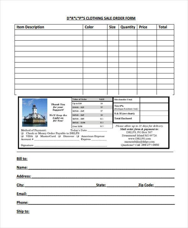 clothing sale order form