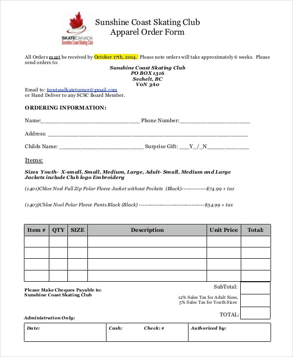 club apparel order form