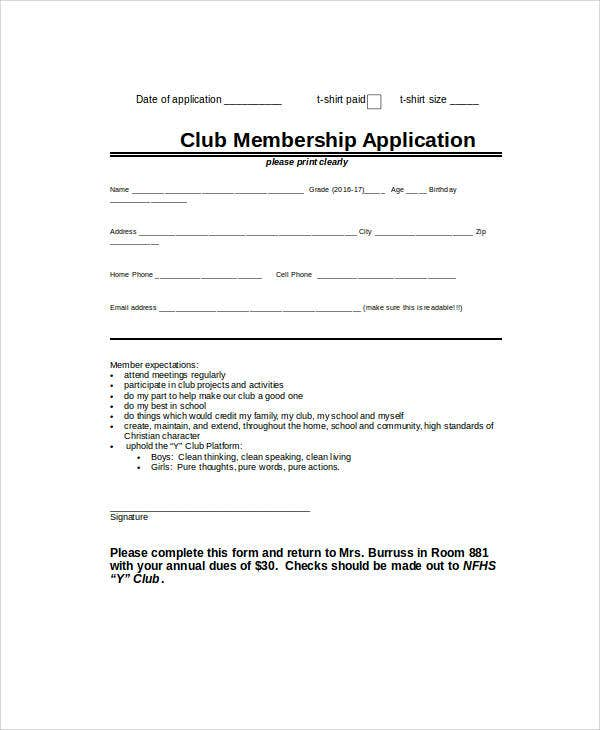 club membership application1