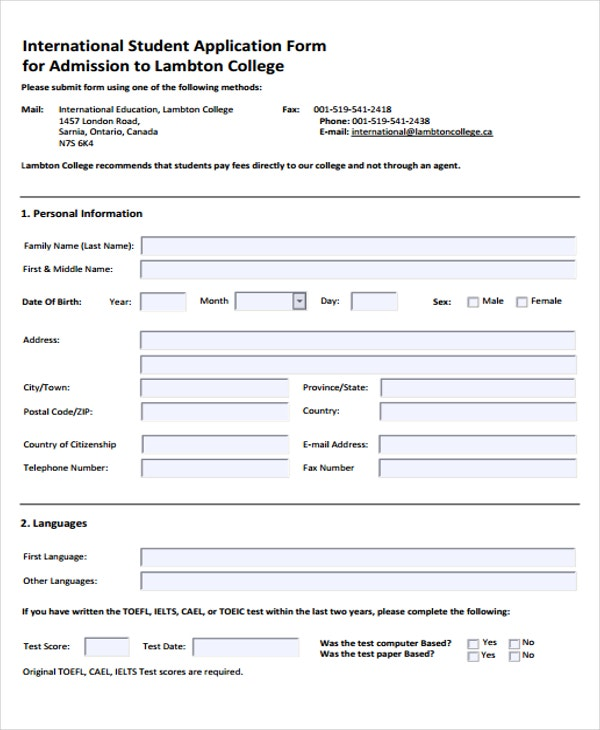 college student application