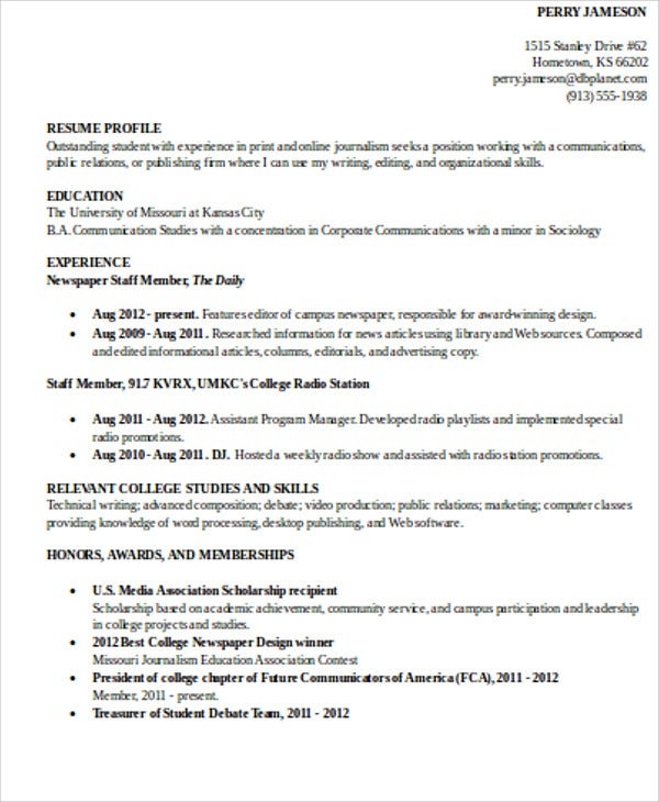 college student education resume