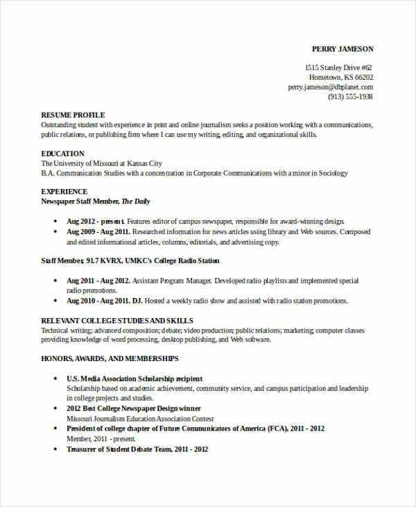 College Student Resume Format  Resume Format And Resume Maker