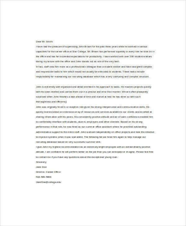 Student Reference Letter Templates  Free Samples Examples