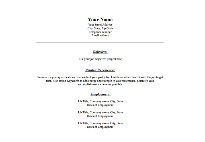combination format blank resume