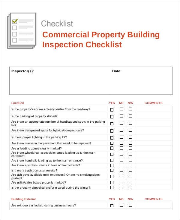 Commercial Property Building Inspection Checklist