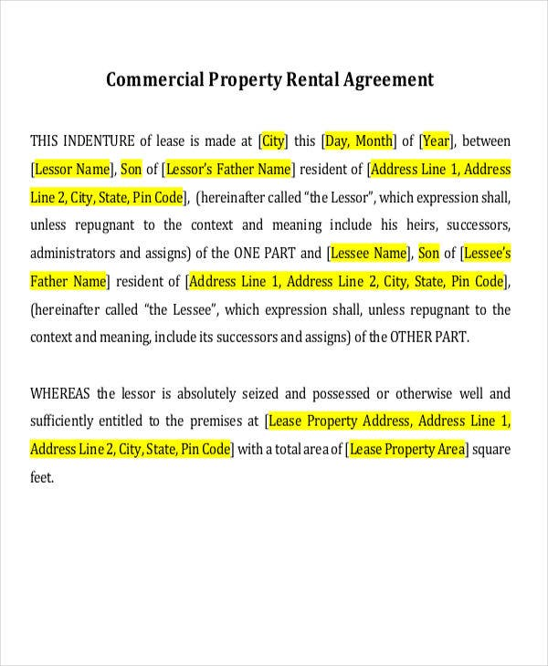 commercial property rent agreement