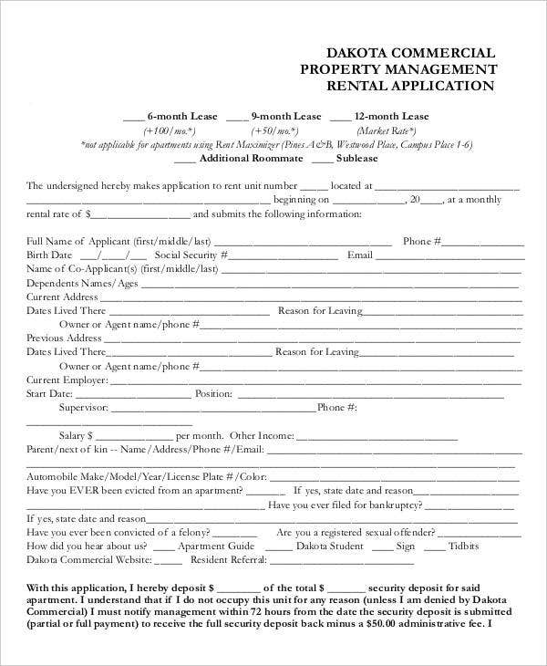 Printable Rental Application Templates  Free  Premium Templates