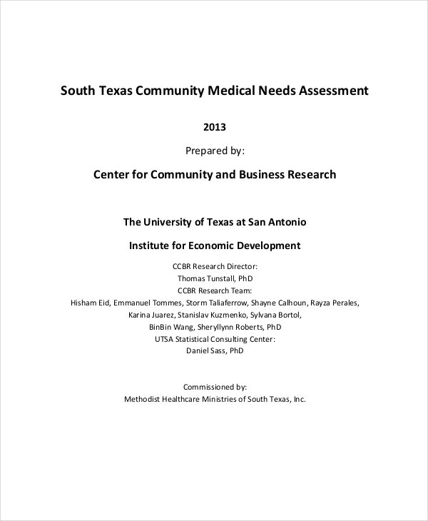 community medical needs assessment