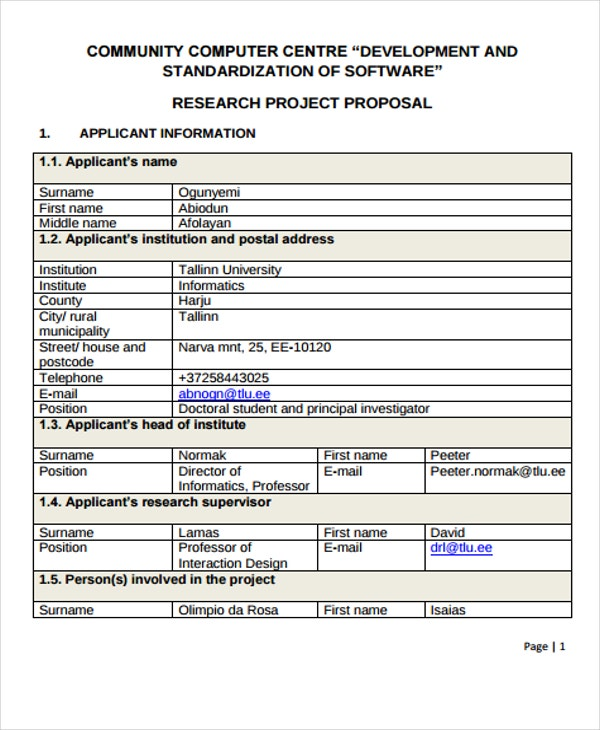 community research project proposal