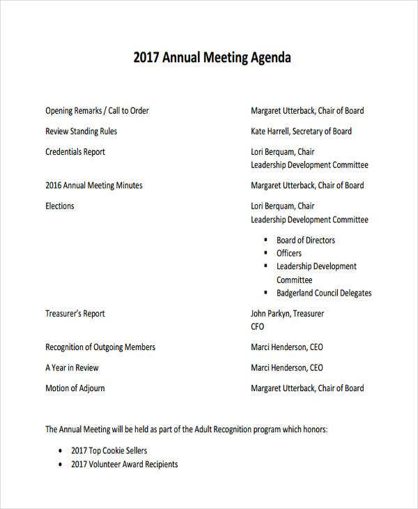 company annual meeting agenda