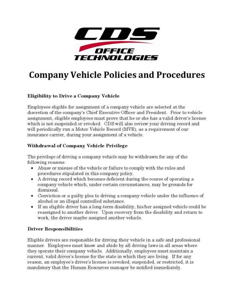 Company Car Policy Template