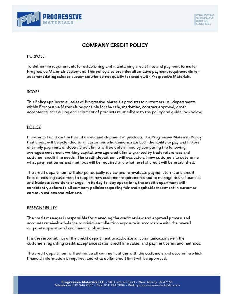 10 sample company policy templates free premium templates company credit policy template flashek Choice Image