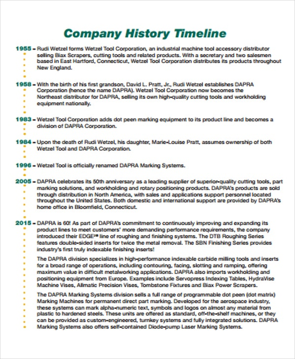 History Timeline Templates  Free Word Pdf Format Download  Free