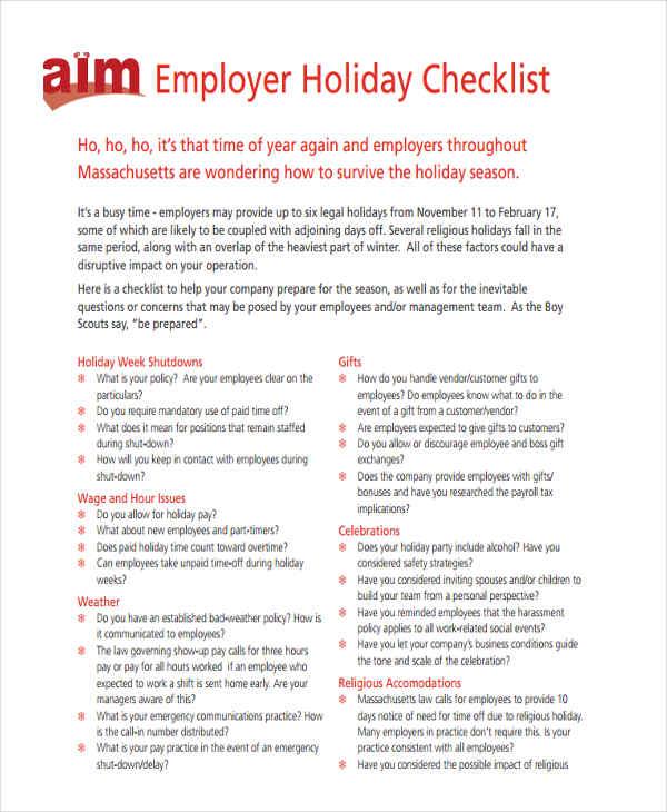 company holiday checklist