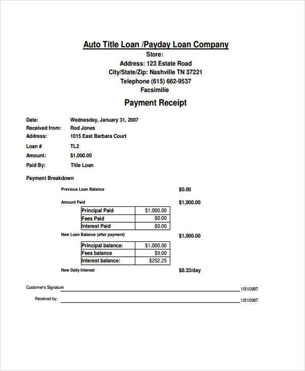 5 Loan Receipt Templates Free Word Pdf Format Download Free