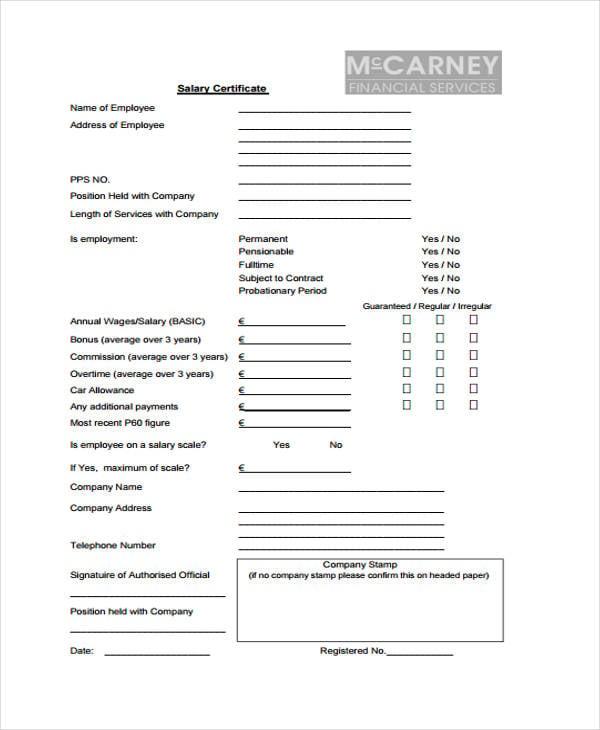 company salary certificate