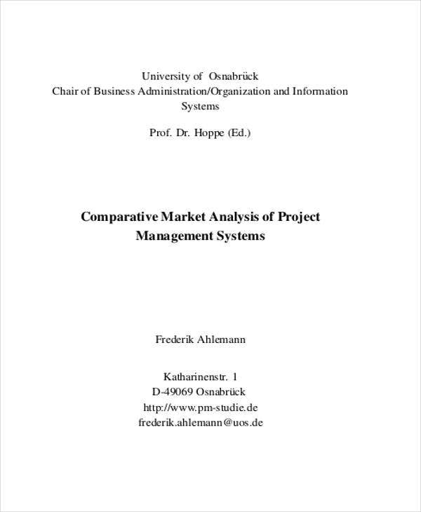 comparative market analysis of project management