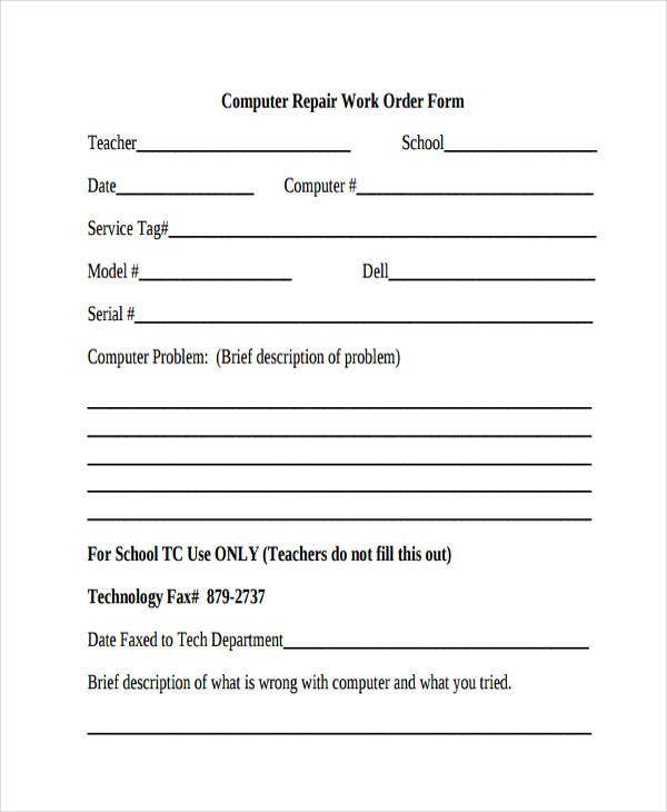 computer repair form template 27 Work Order Templates | Free