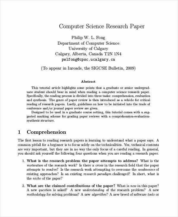 Computer science research paper writing