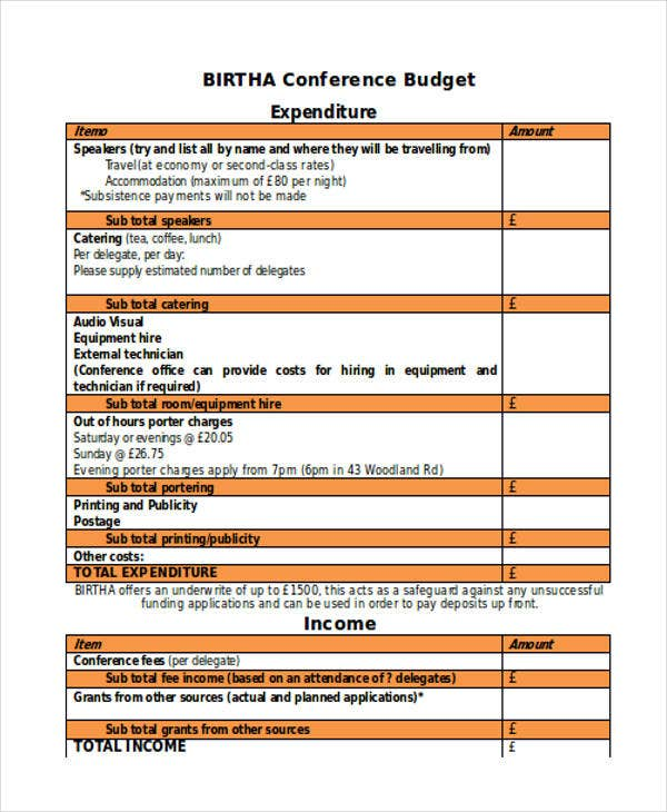 Conference Budget Template Excel