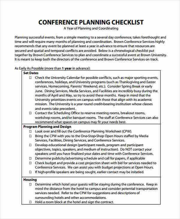 conference event checklist