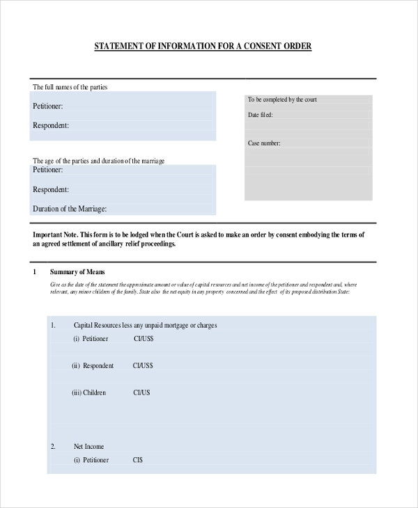 Consent Order Forms   Free Word Pdf Format Download  Free